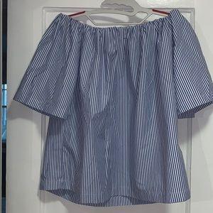 Off-the-shoulder Striped Shirt